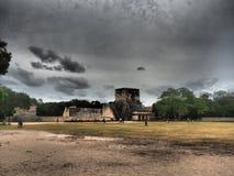 The `Juego de pelota` field esplanade in Chichen Itza. The field of the Juego de pelota, an ancient mayan game, seen from the esplanade of the complex of Royalty Free Stock Photos