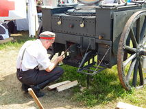 A field kitchen in a military camp.The Fourth International Historical Festival. Times and Epochs 1914-2014, Kolomenskoye, Moscow. 8th of June, 2014. Historical stock images