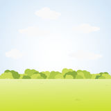 Field Landscape with Green Grass and Bush.Vector Illustration. Royalty Free Stock Photo