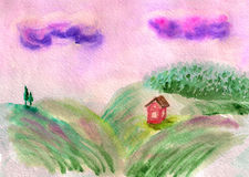 Field landscape with hills. Watercolor image of sunrise rural landscape with hills, trees and small house Stock Images