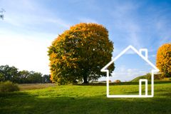 Field landscape and house Royalty Free Stock Photo