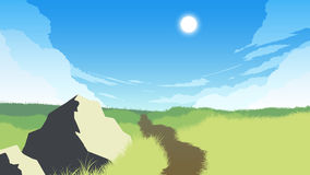 Field landscape illustration Stock Photos
