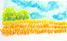 Field landscape,oil pastel painting illustration. Field landscape ,oil pastel painting illustration Stock Photography