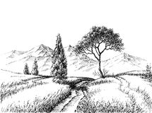Field landscape pencil drawing. A trail to the mountains hand drawn wallpaper Stock Photos