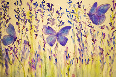 Field of lavender with butterflies. The dabbing technique gives a soft focus effect due to the altered surface roughness of the paper Royalty Free Stock Images