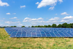 Field with lots of solar collectors Stock Photo