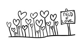 Field of love. Hand line drawing of a field of love-hearts for valentine day Stock Images