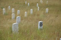 Custers last stand field markers at battlefiels site. Field markers where George Custer and his men fell after being killed by Indians stock photo
