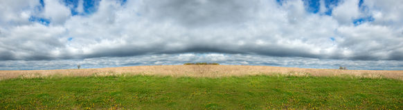 Field Meadow, Sky Clouds Panorama Panoramic Banner Stock Images