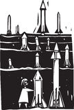 Field of Missiles. Woodcut style image of field of missiles being grown or set up Royalty Free Stock Images