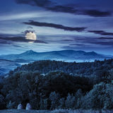 Field  in mountains at night Royalty Free Stock Photos