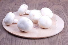 Field mushrooms on a cutting board Royalty Free Stock Photos