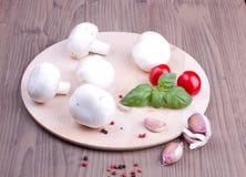 Field mushrooms, garlic, basil and tomatoes Royalty Free Stock Photos