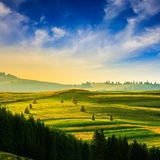 Field near village in mountain Stock Image