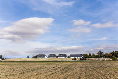 Field with  noise protection wall Royalty Free Stock Photos