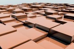 Field of orange 3d cubes. 3d render image. Field of orange 3d cubes. 3d render background image Royalty Free Stock Image