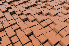 Field of orange 3d cubes. 3d render image Stock Photo