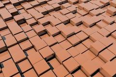 Field of orange 3d cubes. 3d render image. Field of orange 3d cubes. 3d render background image Stock Photo