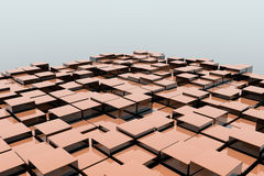 Field of orange 3d cubes. 3d render image Royalty Free Stock Photography