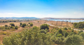 Field and pasture in Burgas, Bulgaria Royalty Free Stock Photo