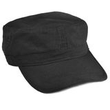 Field patrol cap macro closeup, isolated large detailed black Stock Photography
