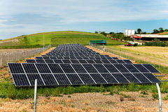Field of photovoltaics in front of animal farm background. Selective focus Royalty Free Stock Photography
