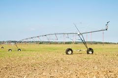 Field with pivot sprinkler system irrigation Stock Photos