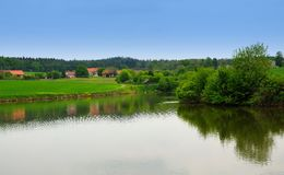 Field and pond Stock Photography