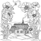 Field poppies. Spring Pattern. Field poppies and victorian house. Spring Pattern for adult coloring book in zenart style. Hand-drawn, retro, doodle, vector Royalty Free Stock Photos