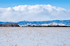 Field on the Prairie Under Snow Royalty Free Stock Photography