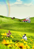 Field and rabbit. Illustration for adventure. Collage creted in photoshop Stock Images