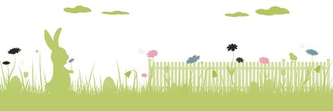 Happy Easter - rabbit. Field with rabbit, Easter eggs, butterfly and flowers vector illustration