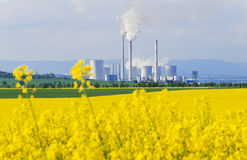 Field Of With A Power Station Stock Photo