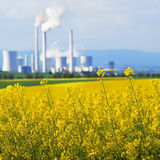 Field Of With A Power Station Royalty Free Stock Photos