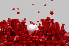Field of red cubes destroyed by large white ball Stock Images