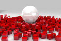 Field of red cubes destroyed by large white ball Royalty Free Stock Image