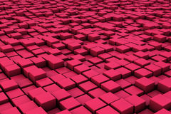 Field of red 3d cubes. 3d render image Stock Photography