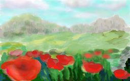 Field with red poppies. A picturesque composition with red poppies, against the background of blue mountains, under the bright rays of the sun.Style Stock Images