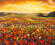 Field of red poppies at sunset stunning flowers landscape oil painting. Colorful field of red poppies at sunset hand made oil painting on canvas. Impressionist Royalty Free Stock Photography