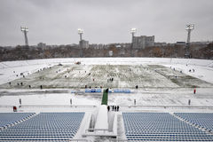 Field is removed from the snow Stock Images