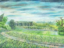 Field road in the countryside. Oil painting on canvas. Field road in the countryside. Hills and meadows, spring. Forest and trees in the background. Cloudy Stock Photography