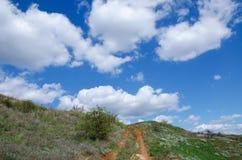 Field road downhill Stock Photo