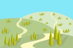 Field road on the hills, groups of trees with shadows, flat design. Vector illustration Stock Images