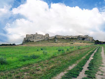 Field road to Spis Castle in summer stock photo