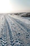 Field road in winter Stock Photos
