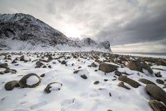 Field of rocks on Unstad beach, Vestvagoy island, Lofoten island Royalty Free Stock Photo