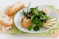 Field Salad with Pears and Bread Royalty Free Stock Photography