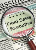Field Sales Executive Job Vacancy. 3D. Field Sales Executive. Newspaper with the Vacancy. Newspaper with Advertisements and Classifieds Ads for Vacancy Field Royalty Free Stock Photo
