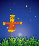 A field with a scarecrow. Illustration of a field with a scarecrow Royalty Free Stock Photos