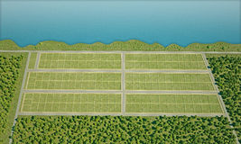 Field for settlement view from above 3d rendering Stock Image